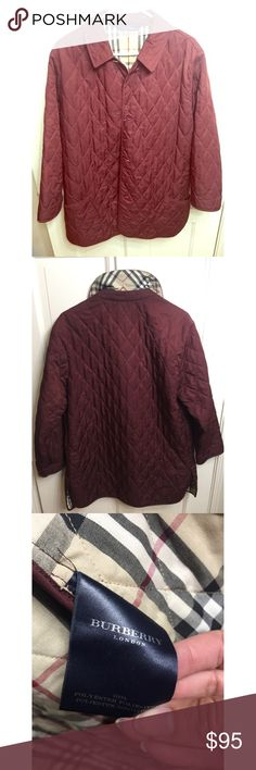 Burberry Quilted Jacket in Burgundy Colorway Authentic Burberry Burgundy Jacket Lightly Worn but in Beautiful Condition Sz L may also fit a Lady's M Burberry Jackets & Coats Blazers