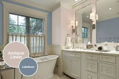 Luxurious Traditional Bathroom Design with White Bathroom Cabinets and Classic White Bath Tub Master Bath Remodel, Diy Bathroom Remodel, Bathroom Remodeling, Remodeling Ideas, Grey Bathrooms, White Bathroom, Classic Bathroom, Cream Bathroom, Bathroom Wall