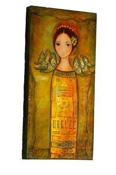 - Angel - Original Mixed Media Painting Collage on Canvas Folk art by FLOR LARIOS  (10 x 20 Inches). $300.00, via Etsy.