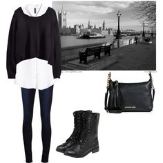 London Style by samanthamarabell on Polyvore featuring Mode, H&M, J Brand, yeswalker and MICHAEL Michael Kors