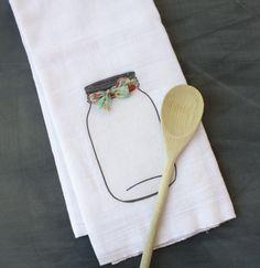 Mason Jar Kitchen Towel Flour Sack Towel Custom by AppleWhite, $13.00
