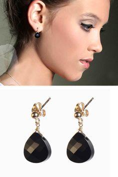 Black swarovski earrings  Gold Filled Earrings With a by meydalle