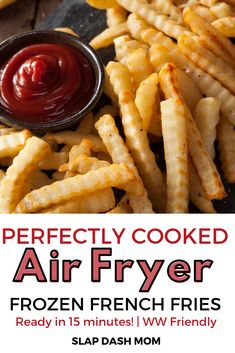 Air fryer frozen french fries are ready in under 15 minutes, crispy, and Weight Watcher Friendly! Don't waste your time with your oven any longer! Air fryer frozen french fries will quickly become your go-to side dish, especially for your Air Fryer Recipes Wings, Air Fryer Recipes Appetizers, Air Fryer Recipes Breakfast, Air Fryer Oven Recipes, Air Frier Recipes, Air Fryer Dinner Recipes, Air Fryer Recipes Potatoes, Air Fryer Recipes Vegetables, Air Fry French Fries