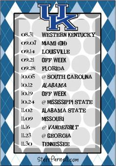 Get it for FREE on my Facebook page www.Facebook.com/StarrParnellDesigns  Printable University of Kentucky Football Schedule by StarrParnell, $1.00