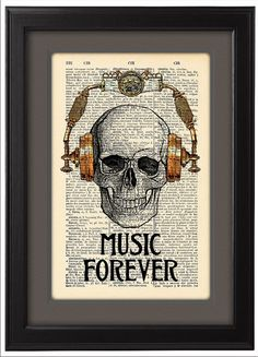 CODE/141 Music forever Skull in steampunk headphones ----------------------------------------------------------------------------------- BUY 2,