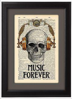 CODE/141 Music forever Skull in steampunk headphones ----------------------------------------------------------------------------------- BUY 2,