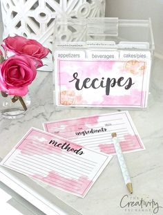 Use our free printable watercolor recipe cards to dress up your recipe box.  Easy instructions for printing and great gift idea.
