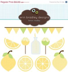 This 10 piece personal & commercial use clipart set includes lemons, lemonade, bunting, and cake pops.    [ D E T A I L S ]