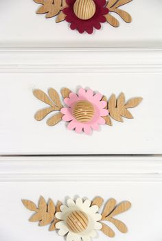 decorative drawer knob in the shape of a flower Tropical Nursery Decor, Drawer Knobs, Colorful Flowers, Bloom, Shapes, Drawer Pulls