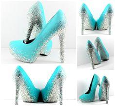 Tiffany Blue Wedding Shoes Swarovski Rhinestone Bridal High Heels Weddings And
