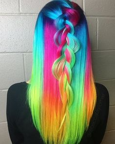 So bright you need shades #neons #neonhair #braid #hairstyle #haircolor #colorfulhair