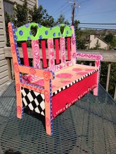 Buy it unfinished and Paint it UP! Hand Painted Chairs, Painted Benches, Funky Painted Furniture, Colorful Furniture, Unique Furniture, Repurposed Furniture, Furniture Projects, Kids Furniture, Furniture Decor