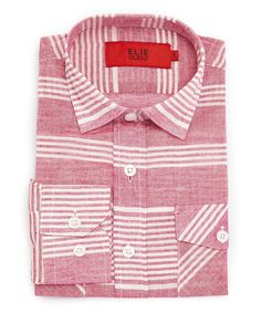 Red & White Stripe Button-Up - Toddler & Boys