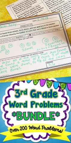 Over 200 Word Problems for Grade! Word Problems 3rd Grade, 3rd Grade Words, Fifth Grade Math, Grade 3, Teaching Math, Teaching Career, Teaching Resources, Teaching Ideas, Fun Math