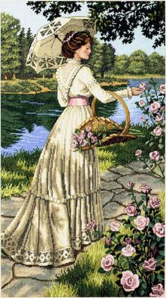 """Counted Cross Stitch Kit 10"""" x 18""""  SUMMER STROLL"""