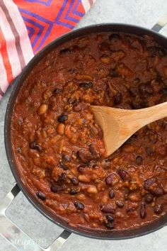 This Slow Cooker Three Bean Beef Chili is a hearty, but so easy protein loaded meal for any night of the week! With a microwave shortcut. Recipe video