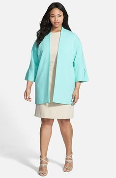 Ellen Tracy Double Weave Open Front Coat (Plus Size) available at #Nordstrom