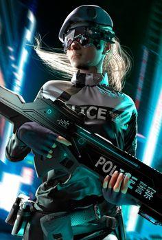 Police Unit Concept., Oskar Woinski on ArtStation at https://www.artstation.com/artwork/QZm1x - More at https://pinterest.com/supergirlsart #cyberpunk #female #scifi #art