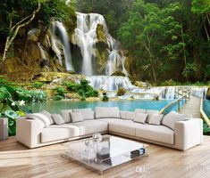 Waterfall Landscape Non-woven TV Background Photo Wallpaper Living Room Bedroom Custom Wall Mural Wall Covering Papel Pintado 3d Wallpaper For Walls, Cheap Wallpaper, Photo Wallpaper, 3d Wallpaper Kitchen, Green Wallpaper, Wallpaper Wallpapers, Custom Wallpaper, Forest Waterfall, Waterfall Photo