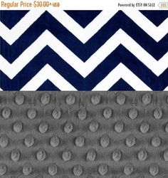 SALE Minky Baby Blanket Boy // Gray & Navy Chevron