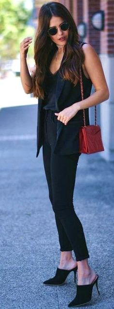 All Black + Pop Of Red