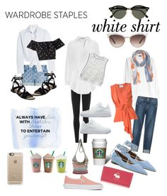 """""""The White Shirt...A Fashion Staple"""" by stonge-02 on Polyvore featuring DKNY, STELLA McCARTNEY, Maje, T By Alexander Wang, 7 For All Mankind, Gucci, Ray-Ban, RD Style, NIKE and Rebecca Minkoff"""