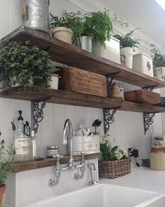 Wishing I had a green thumb so I could make my open shelves look like this instead I'm at the doctors getting breathing treatments for my darn asthma hope everyone's having a great day!! #CAgetsinspired