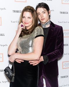 Model Stephanie Seymour and son Harry Brant attend the 2015 Tribeca Ball at New York Academy of Art on April 13 2015 in New York City