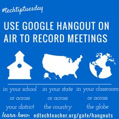 Use a Google Hangout on Air to record your meetings for those who could not attend. Hangouts on Air can be public or private. Learn more at edtechteacher.org/gafe/hangouts