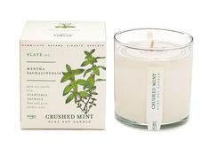 Kobo Kobo Pure Soy Wax Candle The Seeds Collection Crushed Mint: A sophisticated blend contrasting a cool, refreshing mix of spearmint, peppermint and peach flower with the intense warmth of cedarwood and oakmoss. A true cradle-to-cradle endeavor, the See
