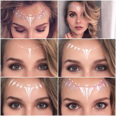 Festival make up tutorial: white fairy love trust and fairydust you need wh Festival Paint, Festival Make Up, Makeup Inspo, Makeup Art, Makeup Inspiration, Makeup Ideas, Sfx Makeup, Festival Makeup Glitter, Glitter Makeup
