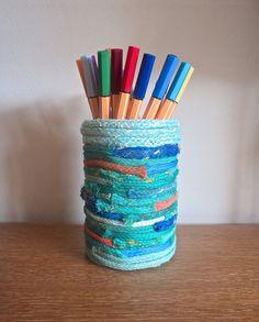 Pen/ Pencil Pot Holder Fishing Net Rope Beach Sea Nautical Stripes