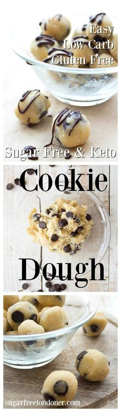 Looking for sugar free dessert bombs? Sugar free low carb cookie dough - a no bake chocolate chip dough that's gluten free and a delicious guilt-free treat. Ready in one minute! Keto Desserts, Desserts Sains, Sugar Free Desserts, Sugar Free Recipes, Low Carb Recipes, Paleo Recipes, Baking Recipes, Baking Snacks, Dessert Recipes