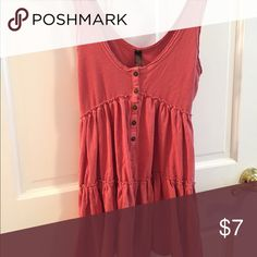 Coral Tunic Tank Top XS Cute summery coral-pink tank. Button detail down the front. XS fits S. Never worn. Tops Tank Tops