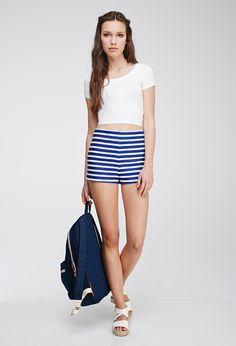 High Waist Striped Shorts