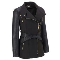 Black Rivet Belted Soft Shell Faux-Leather Cycle Jacket