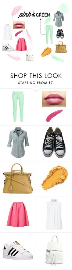 """pink&green"" by teenwolfstilinski on Polyvore featuring mode, French Connection, TheBalm, LE3NO, Converse, Maison Margiela, John Lewis, adidas, Mansur Gavriel en Pink"