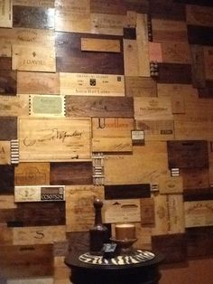 Wine Cellar wall of deconstructed and stained OWC's and corks. Wine Crate Decor, Wine Crates, Wine Barrels, Wine Art, Commercial Design, Wine Cellar, Small Living, Cellar Ideas, Crate Ideas