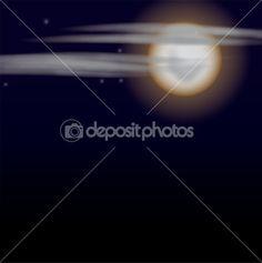 Луна и облака — Стоковая иллюстрация #6215249