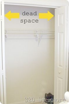 Organizing clothes closet; using dead space on the sides of closet