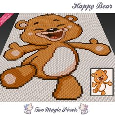 Happy Bear c2c graph crochet pattern; instant PDF download; baby blanket, corner…