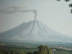 """""""Vesuvius from Caserta"""" (Detail) - """"The Royal Gardens at Caserta"""" (1792) - gouache by Philipp Hackert (Prenzlau 1737-San Pietro di Careggi 1807) - The Royal Palace of Caserta, now at """"The pursuit of Sir William Hamilton"""" - Exhibition by Mark Dion - Villa."""