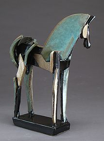 "Upright Stoneware Slab-Built Horse by Jeri Hollister (Ceramic Sculpture) (12"" x…"