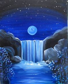 Painting Ideas Easy - 35 Easy Canvas Painting Ideas for Kids to Try - Design Art Easy Canvas Painting, Diy Canvas Art, Diy Painting, Painting & Drawing, Canvas Ideas, Canvas Canvas, Waterfall Paintings, Pastel Art, Painting Inspiration