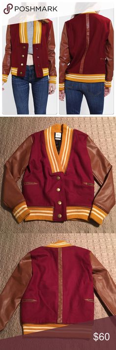 ❗️LAST CHANCE❗️NWOT Scott by Scott Varsity Jacket ***Final sale - price firm! Go back to school in style with this Scott by Scott Varsity Jacket - designed by Sarah Scott for UO.  Maroon wool blend body with faux leather tan sleeves and mustard yellow striped collar and cuffs. Faux leather trimmed slit pockets on the sides. Classic styling with a modern take. ❌ No trades Urban Outfitters Jackets & Coats