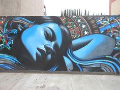 Street Art Mural by El Mac and Retna on La Brea Ave, LA.