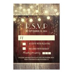 Country Wedding Invitations Rustic country string lights wedding RSVP cards
