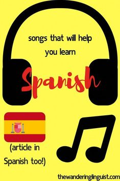 Best songs to learn Spanish or improve your Spanish - - Want to practise your Spanish with music but not sure where to start? I'm here to help you find the best songs to learn Spanish. Includes a Spotify playlist. Learn Spanish Free, Learning Spanish For Kids, Learn To Speak Spanish, Learn Spanish Online, Spanish Language Learning, Teaching Spanish, Spanish Activities, Learning Italian, Teaching French