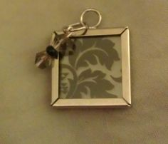 Glass and Silver Frame Pendant Damask and Grey by WestonBoutique, $8.00