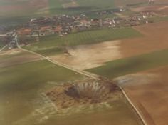 Lochnagar Crater on the Somme battlefield, blown by the British Army on 1 July at the start of the Battle of the Somme, 1916.